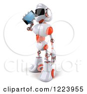 Clipart Of A 3d White And Orange Male Techno Robot Talking On A Cell Phone Royalty Free Illustration