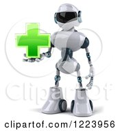 Clipart Of A 3d White And Blue Male Techno Robot Holding A Green Cross Royalty Free Illustration
