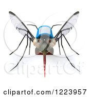 Clipart Of A 3d West Nile Virus Mosquito Wearing A Hat Over A Sign Royalty Free Illustration