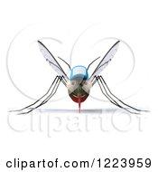 Clipart Of A 3d West Nile Virus Mosquito Wearing A Hat Royalty Free Illustration
