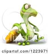Clipart Of A 3d Traveling Green Gecko With Rolling Luggage Royalty Free Illustration
