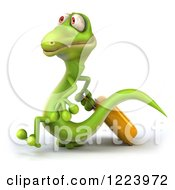 Clipart Of A 3d Traveling Green Gecko With Rolling Luggage 2 Royalty Free Illustration
