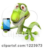 Clipart Of A 3d Green Gecko Holding A Smart Phone Over A Sign Royalty Free Illustration