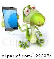 Clipart Of A 3d Green Gecko Holding Up A Smart Phone Royalty Free Illustration