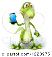 Clipart Of A 3d Green Gecko Holding A Smart Phone Royalty Free Illustration