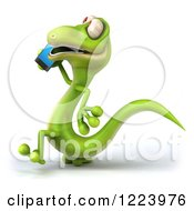 Clipart Of A 3d Green Gecko Talking On A Smart Phone 2 Royalty Free Illustration