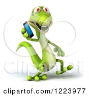 Clipart Of A 3d Green Gecko Talking On A Smart Phone Royalty Free Illustration