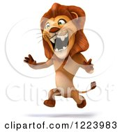 Clipart Of A 3d Lion Running Royalty Free Illustration