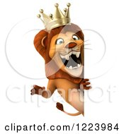 Clipart Of A 3d Lion King Roaring Around A Sign Royalty Free Illustration
