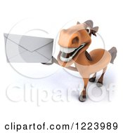 Clipart Of A 3d Happy Horse Holding Up An Envelope Royalty Free Vector Illustration