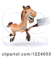 Clipart Of A 3d Happy Horse Running Holding Up An Envelope Royalty Free Vector Illustration
