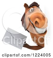 Clipart Of A 3d Happy Horse Holding An Envelope Around A Sign Royalty Free Vector Illustration