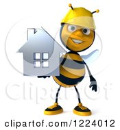 Clipart Of A 3d Builder Bee Holding A House Royalty Free Vector Illustration