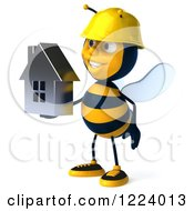 Clipart Of A 3d Builder Bee Holding A House 2 Royalty Free Vector Illustration