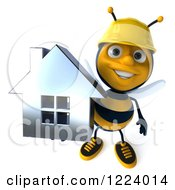Clipart Of A 3d Builder Bee Holding Up A House Royalty Free Vector Illustration