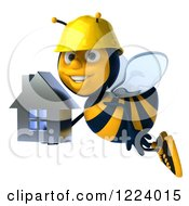 Clipart Of A 3d Builder Bee Flying With A House Royalty Free Vector Illustration