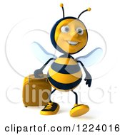 Clipart Of A 3d Traveling Bee With Rolling Luggage Royalty Free Vector Illustration