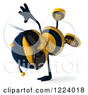 Clipart Of A 3d Bee Wearing Sunglasses And Doing A Hand Stand Royalty Free Vector Illustration