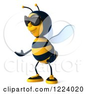 Clipart Of A 3d Bee Wearing Sunglasses And Presenting Royalty Free Vector Illustration