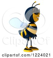 Clipart Of A 3d Bee Wearing Sunglasses And Facing Right Royalty Free Vector Illustration