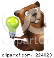 Clipart Of A 3d Beaver Mascot Holding A Green Light Bulb Around A Sign Royalty Free Vector Illustration