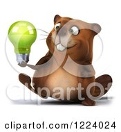 Clipart Of A 3d Beaver Mascot Walking With A Green Light Bulb Royalty Free Vector Illustration