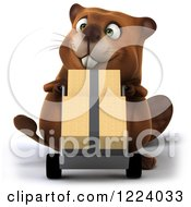 Clipart Of A 3d Beaver Mascot Moving Boxes On A Dolly Royalty Free Vector Illustration