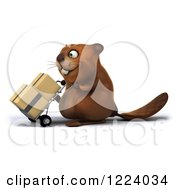 Clipart Of A 3d Beaver Mascot Moving Boxes On A Dolly 2 Royalty Free Vector Illustration