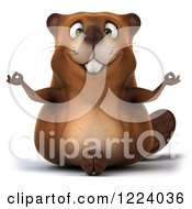 Clipart Of A 3d Beaver Mascot Meditating Royalty Free Vector Illustration