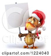 Clipart Of A 3d Christmas Chicken Holding A Sign Royalty Free Illustration