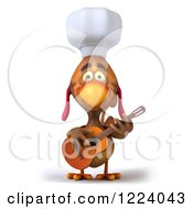 Clipart Of A 3d Chef Chicken Playing A Guitar 2 Royalty Free Illustration by Julos