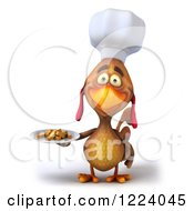 3d Chef Chicken Holding A Plate Of French Fries