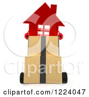 Clipart Of A 3d Red House Moving Boxes On A Dolly Royalty Free Vector Illustration