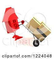 Clipart Of A 3d Red House Moving Boxes On A Dolly 2 Royalty Free Vector Illustration