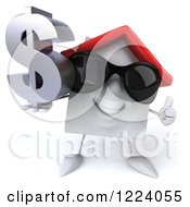 3d White House Wearing Sunglasses Holidng A Thumb Up And A Dollar Symbol 2