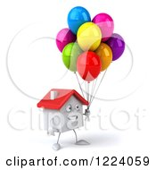 3d White House With Colorful Party Balloons