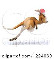 Clipart Of A 3d Christmas Kangaroo Hopping Royalty Free Illustration