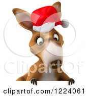 Clipart Of A 3d Christmas Kangaroo Looking Down Over A Sign Royalty Free Illustration