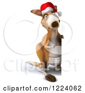 Clipart Of A 3d Christmas Kangaroo Looking Around And Pointing To A Sign Royalty Free Illustration