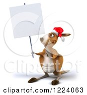 Clipart Of A 3d Christmas Kangaroo Holding Up And Pointing To A Sign Royalty Free Illustration