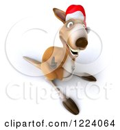 Clipart Of A 3d Christmas Kangaroo Holding A Thumb Up Royalty Free Illustration