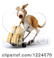 Clipart Of A 3d Kangaroo Moving Boxes On A Dolly 2 Royalty Free Illustration