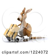 Clipart Of A 3d Kangaroo Moving Boxes On A Dolly Royalty Free Illustration