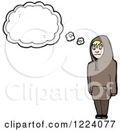 Clipart Of Boy Wearing Hooded Sweatshirt With Blank Thought Cloud Royalty Free Vector Illustration