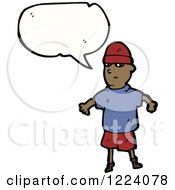 Clipart Of Black Boy Wearing Beanie Tshirt And Shorts Beside A Blank Thought Cloud Royalty Free Vector Illustration by lineartestpilot