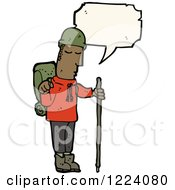Cartoon Of A Talking Black Male Hiker Royalty Free Vector Illustration