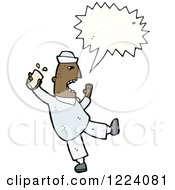 Cartoon Of A Shouting Angry Drunk Black Man Royalty Free Vector Illustration by lineartestpilot