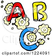 Cartoon Of Pencil ABC And Flowers Royalty Free Vector Illustration by lineartestpilot
