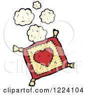 Cartoon Of A Heart Pillow With Dust Royalty Free Vector Illustration