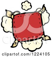 Cartoon Of A Red Pillow With Dust Royalty Free Vector Illustration